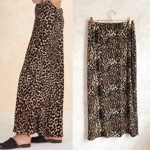 Vintage AGB Leopard Print Long Maxi Skirt Slit S